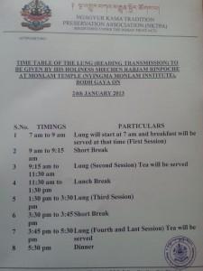 English Translation Monlam Chenmo Schedule